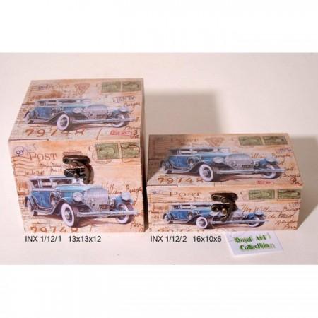 Κουτί ξύλινο με καμβά εικόνα αυτοκίνητο αντίκα μεγάλο μέγεθος (αριστερή εικόνα)