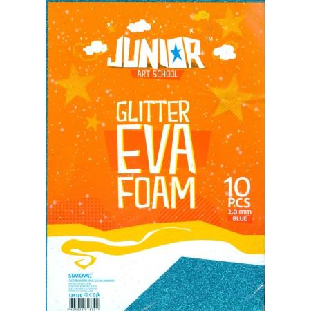Αφρώδες Χειροτεχνίας Glitter Πάχους 2,0mm Πακέτο 10 Φύλλων Α4 21,3 x 30cm Κωδικός J-134150/10 Μπλέ